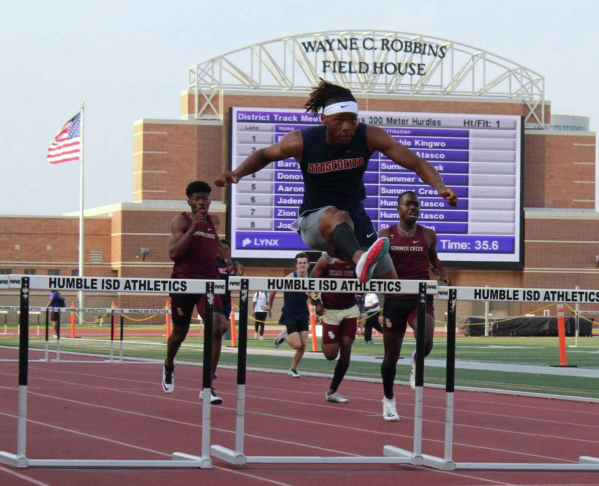 Atascocita's Jaden Patterson finished in first place in the 300 hurdles to advance to the area meet.
