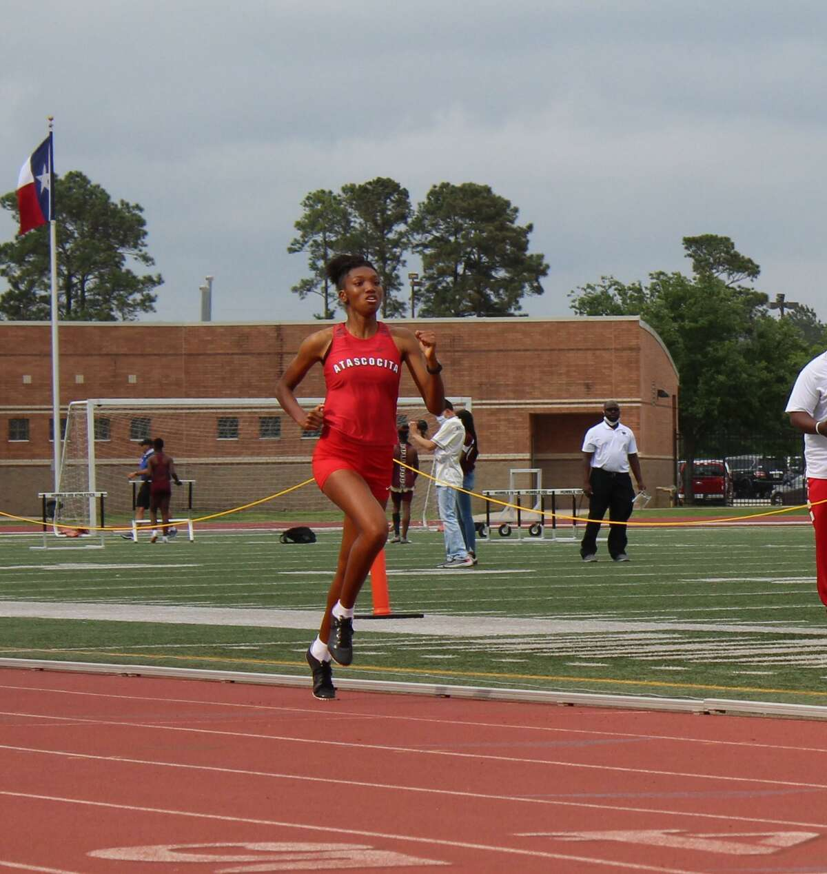 Atascocita's Arayna Mickles finishes in first place in the 800 meter run at the District 21-6A meet Friday afternoon at Turner Stadium.