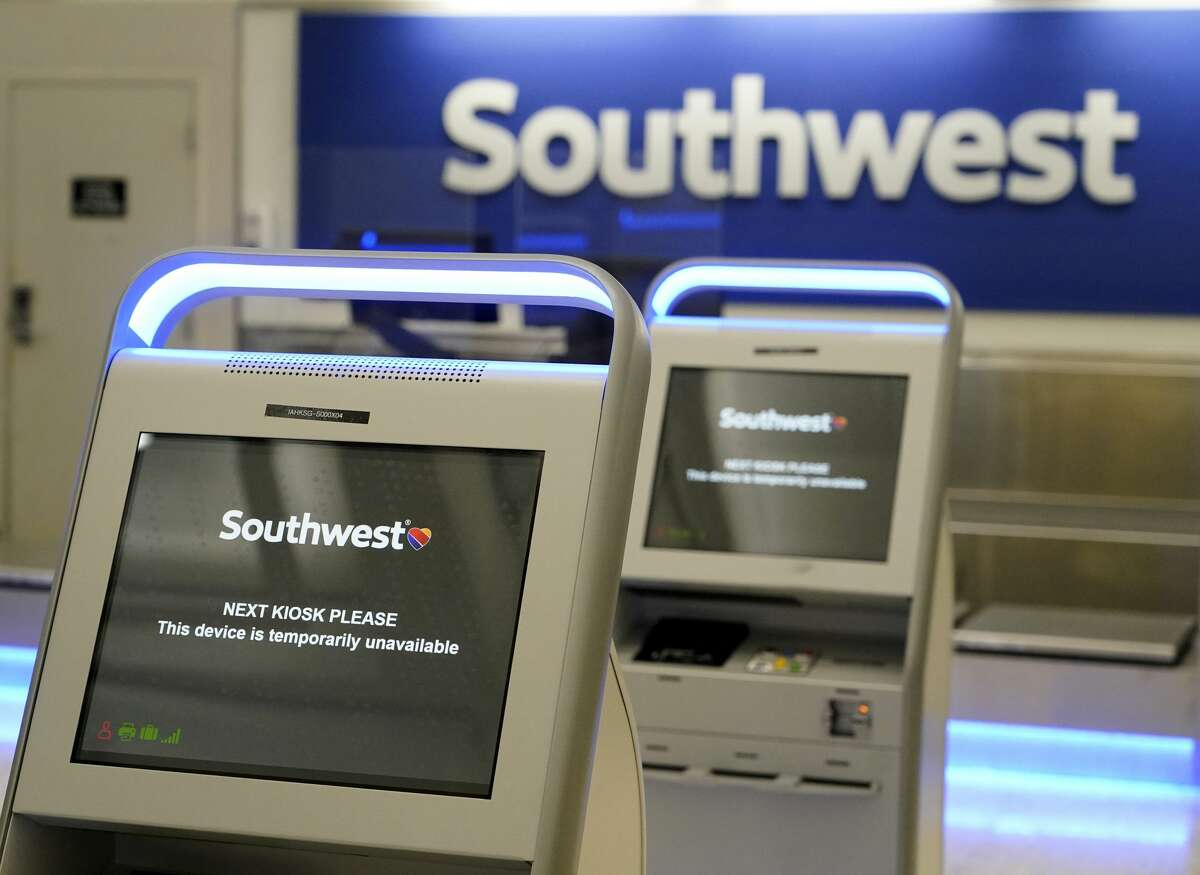 Southwest Airline kiosks in Terminal A at George Bush Intercontinental Airport are shown Friday, April 9, 2021 in Houston. Southwest will have flights out of IAH for the first time on Monday.