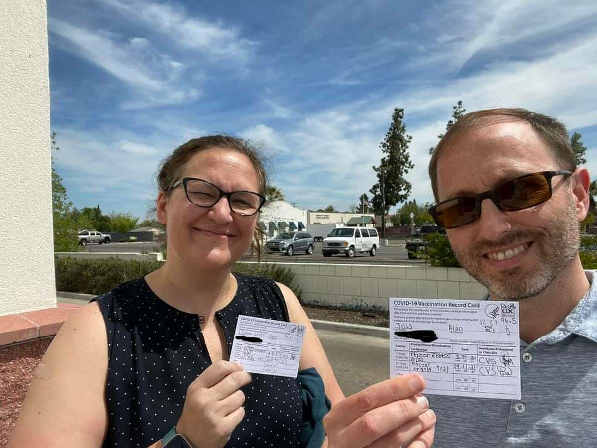 Amy Lighter and Alan Joss spent 2 Sundays, driving 952 miles to Hanford CA for their vaccines.