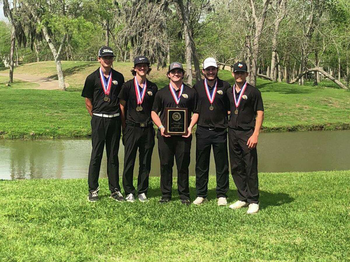 The Foster boys golf team of Tobey Wills, Kade Barnes, Cole Ferguson, Ryan Cavazos and Ty Billings won the District 24-5A championship.