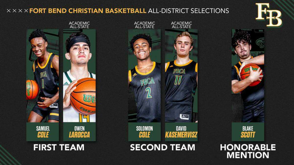The Fort Bend Christian Academy boys basketball team produced five all-district selections, including all-state honorees in Owen LaRocca and Samuel Cole.