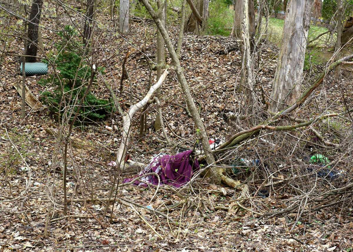 Bedding and blankets are seen in the woods near the area where the city is clearing trees as part of improvements in Vale Park on Monday, April 12, 2021 in Schenectady, N.Y. They're also clearing encampments at the same time, leading to displacement of people who were living outside at the edge of the park. (Lori Van Buren/Times Union)