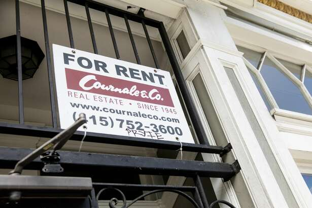 A for rent sign in San Francisco, California on April 9, 2021.