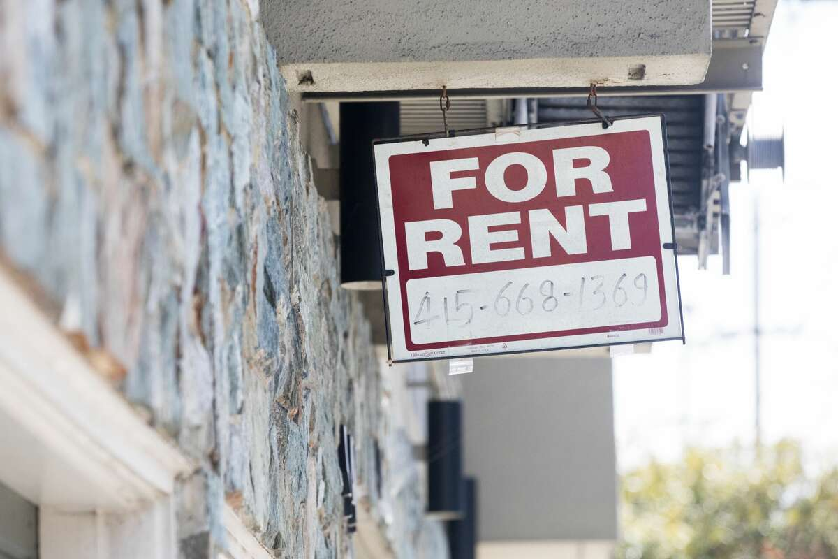 A 'for rent' sign in San Francisco on April 9, 2021.