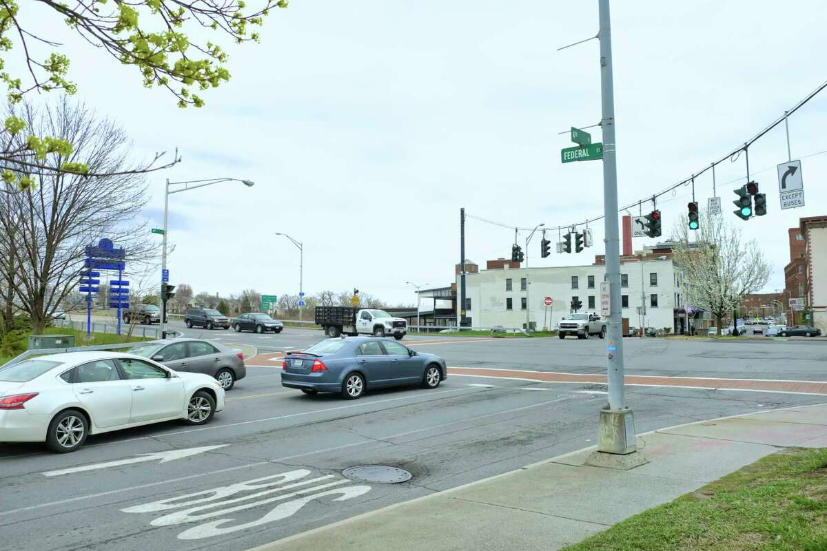 A view of the intersection of Federal St. and River St. on Monday, April 12, 2021, in Troy, N.Y. (Paul Buckowski/Times Union)