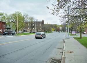A view looking up Federal St. on Monday, April 12, 2021, in Troy, N.Y.  (Paul Buckowski/Times Union)