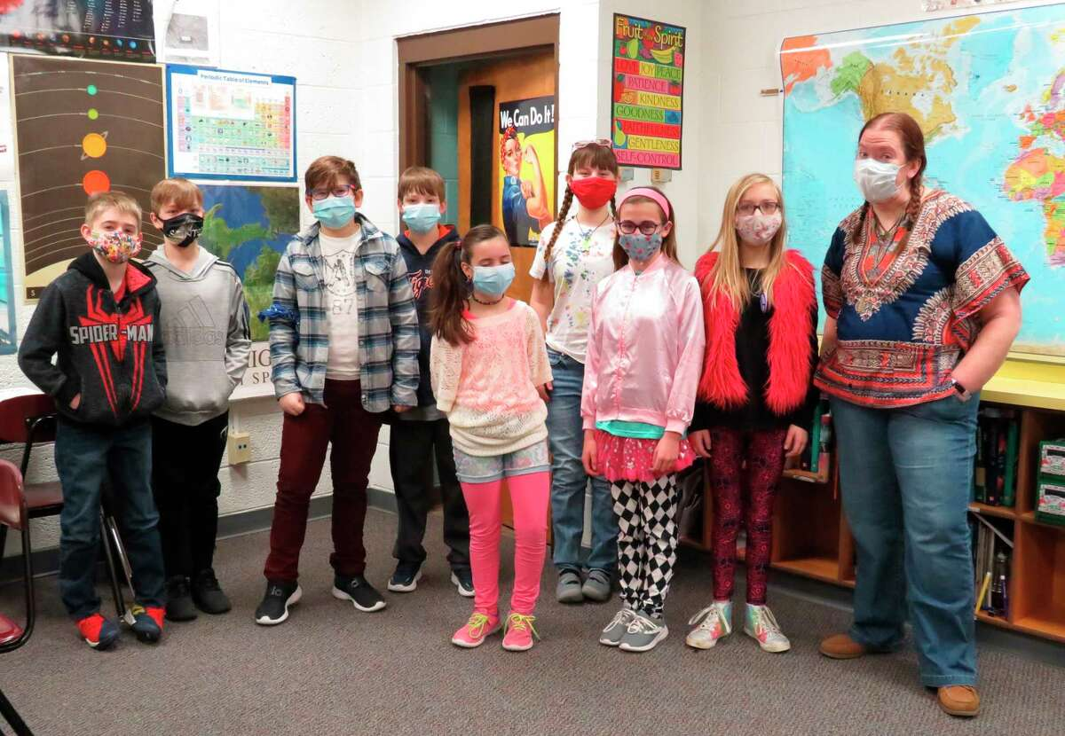 Jeanna Watts (far right) poses with some of her students for recent dress-up day. (Courtesy photo/Jeanna Watts)