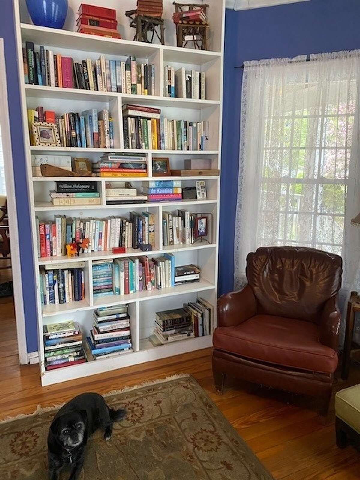 Donna Liquori's bookshelf, which recently went through a spring cleaning purge and organization, in her Delmar home.