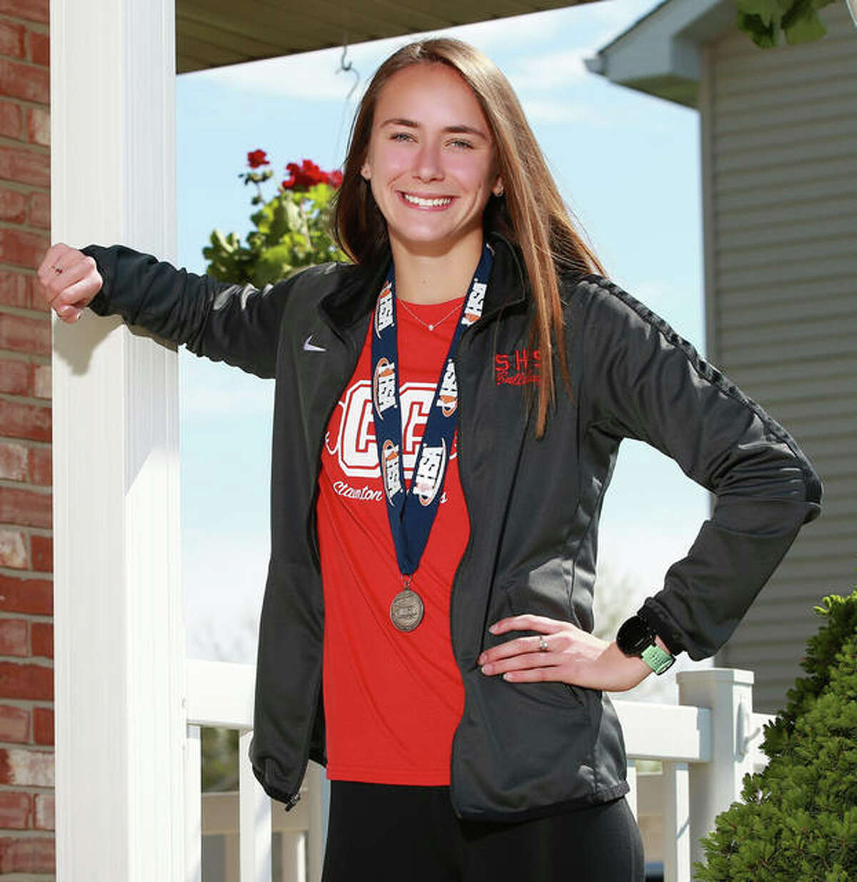 Staunton's Lydia Roller poses for her 2019 Telegraph Cross Country Runner of the Year portrait last summer at her home in Staunton.