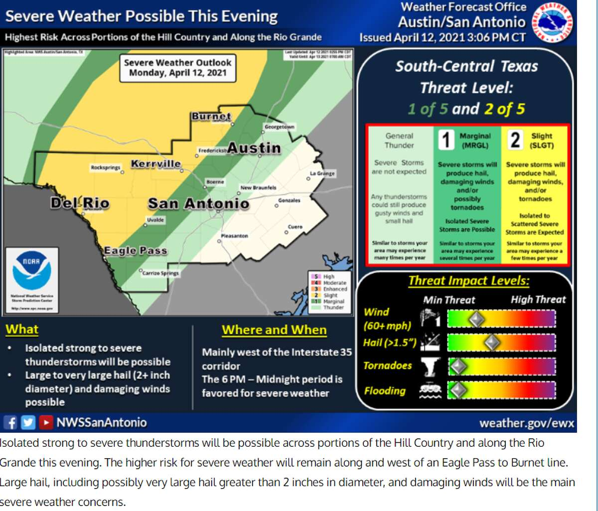 Severe thunderstorms are possible to the west of the San Antonio area according to forecasters.
