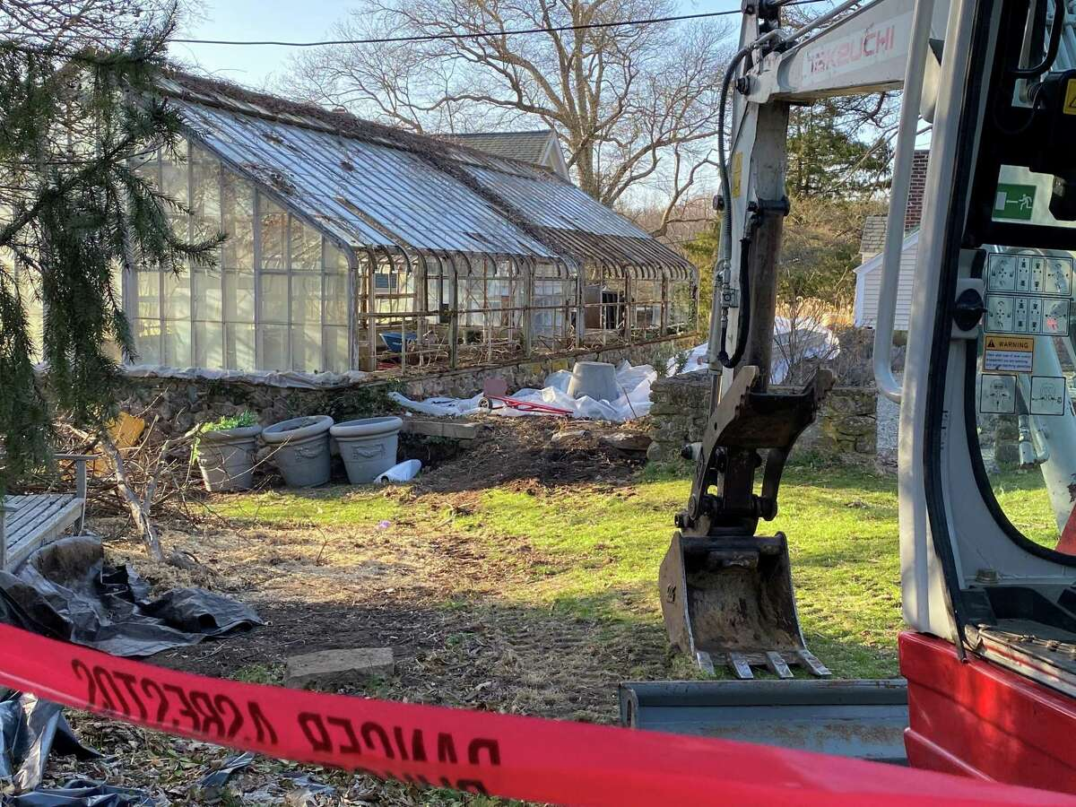 The greenhouse at the Nature Center in New Canaan had slowly been in the process of being demolished over a number of days in April. Picture taken April 5.
