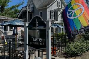 Photo of a pride flag being flown at the Note Kitchen and Bar in Bethel. Conn.