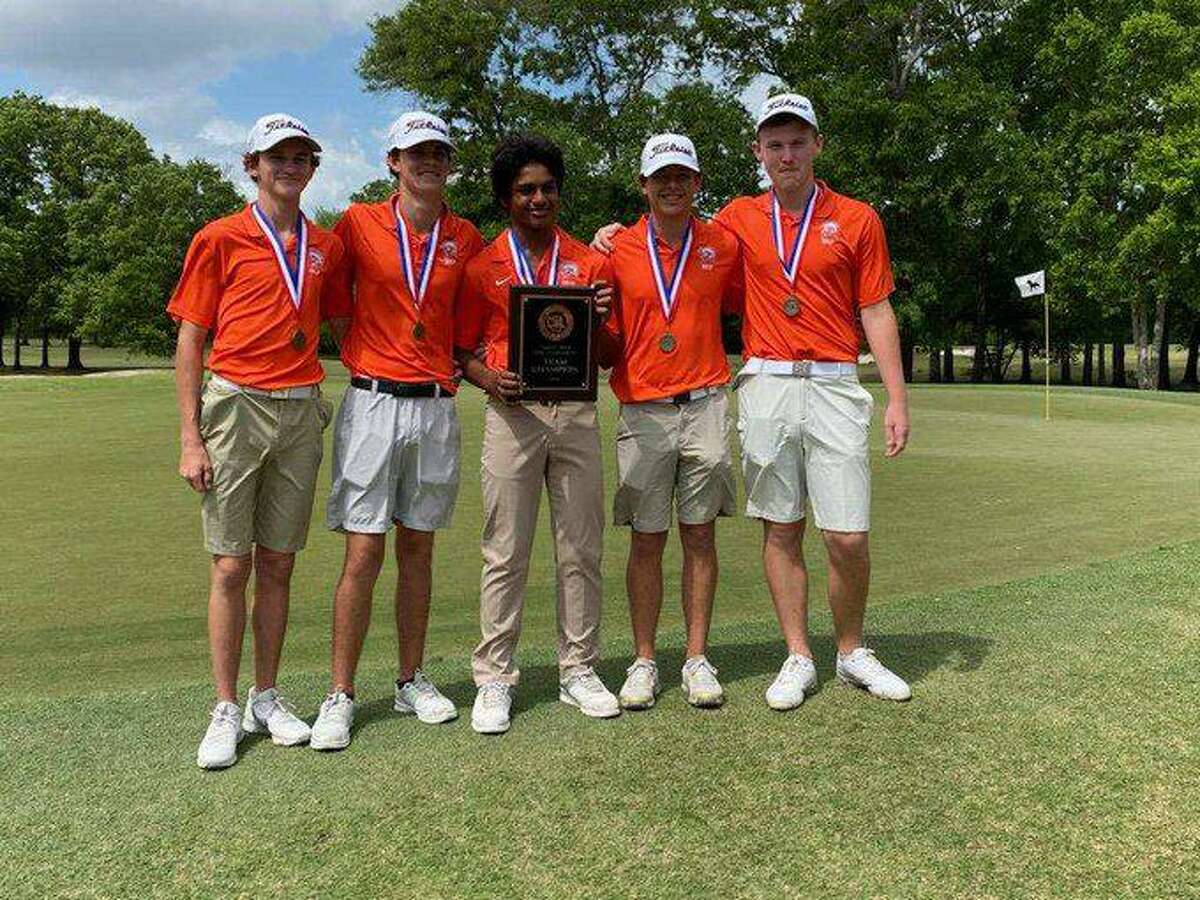 The Seven Lakes boys golf team of individual champion Shaun Nair, Van Miller, Nikko Taggart, Adam Bodine and Kade Kalisek won the District 19-6A championship with a score of 615.
