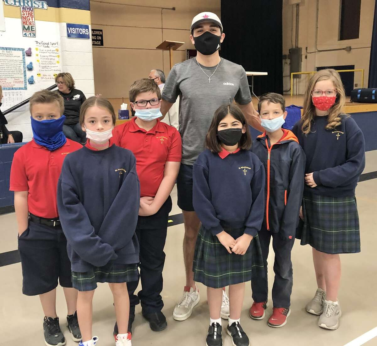 St. Ann's School alum Bryce Hoppel spoke recently at a school assembly at St. Ann's Catholic School.