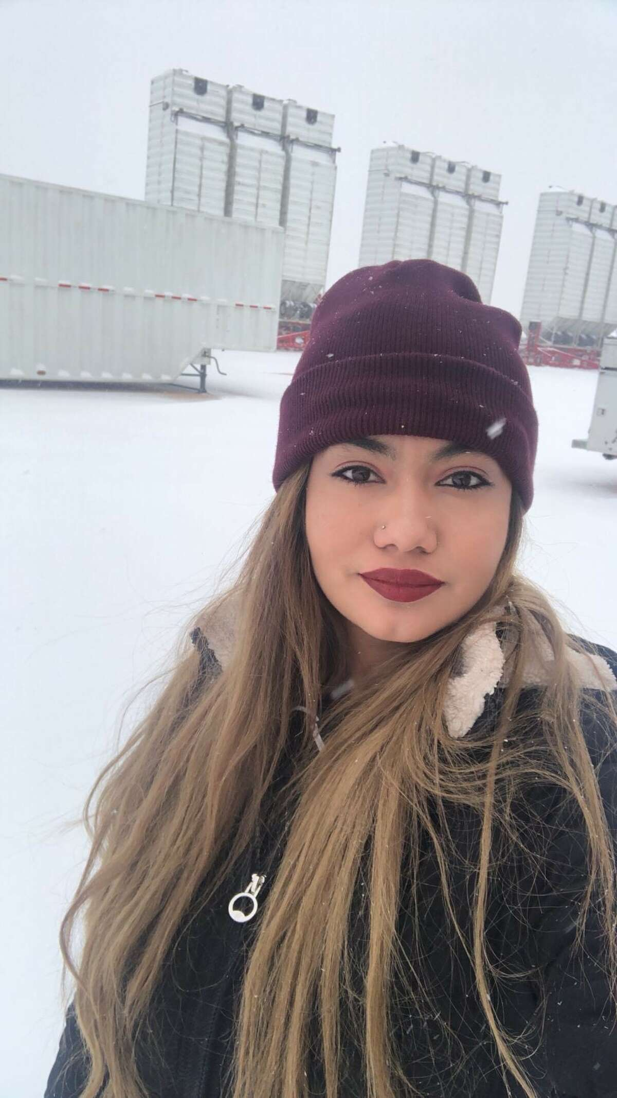 Aimee Villarreal during a recent snowfall at the ProPetro Services Midland yard.