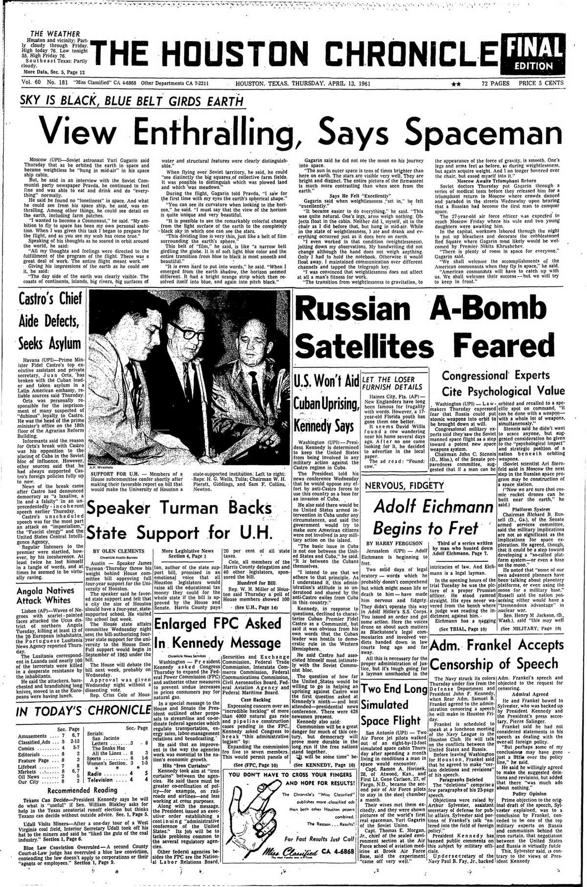 Houston Chronicle front page from April 13, 1961.