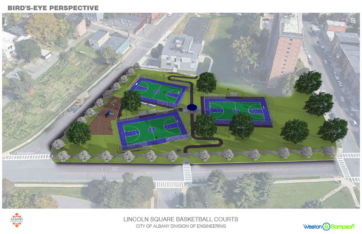 A bird's eye view of what the playground and courts will look like.