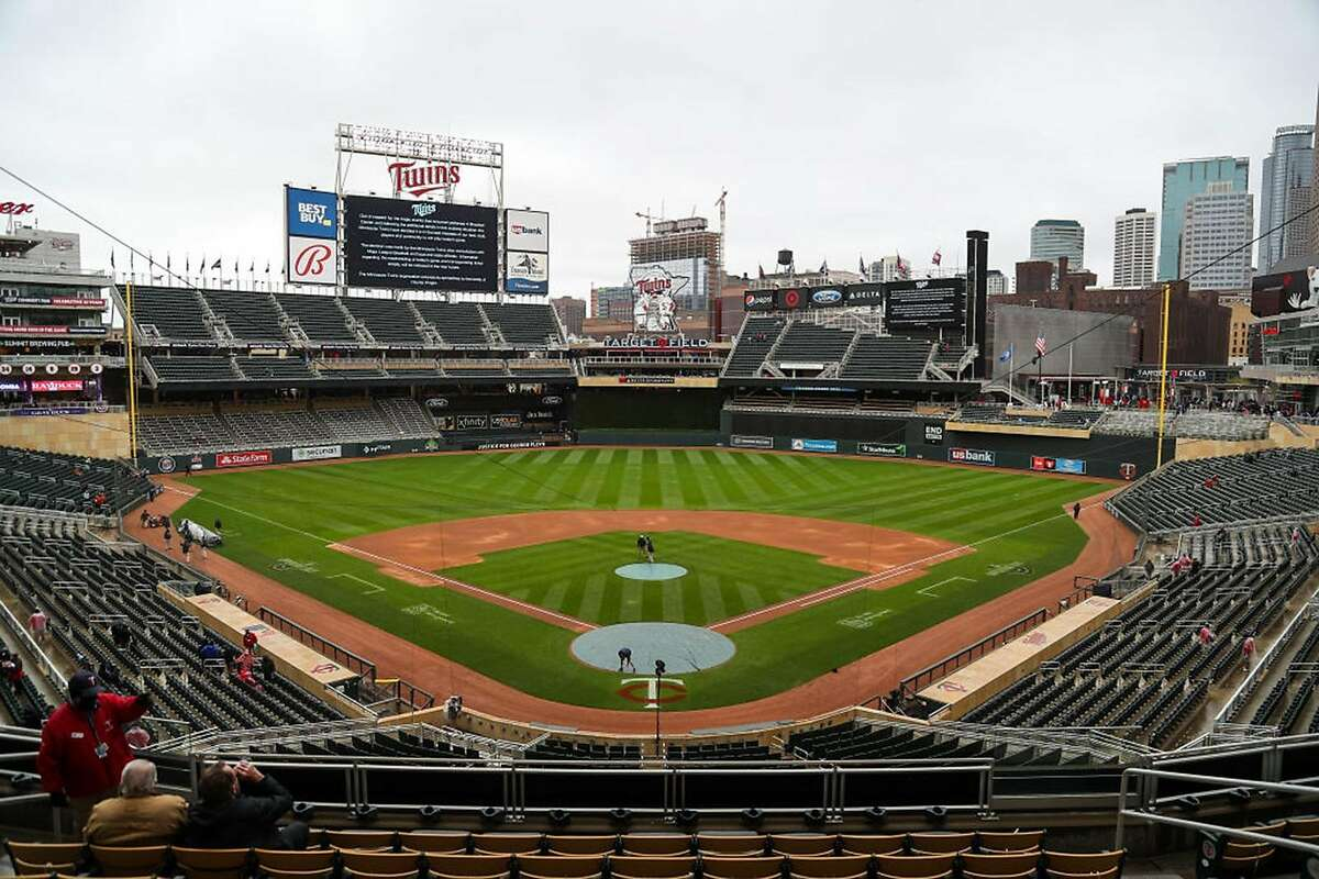 Target Field in Minneapolis emptied after a postponement was announced for the Twins' day game against the Boston Red Sox.