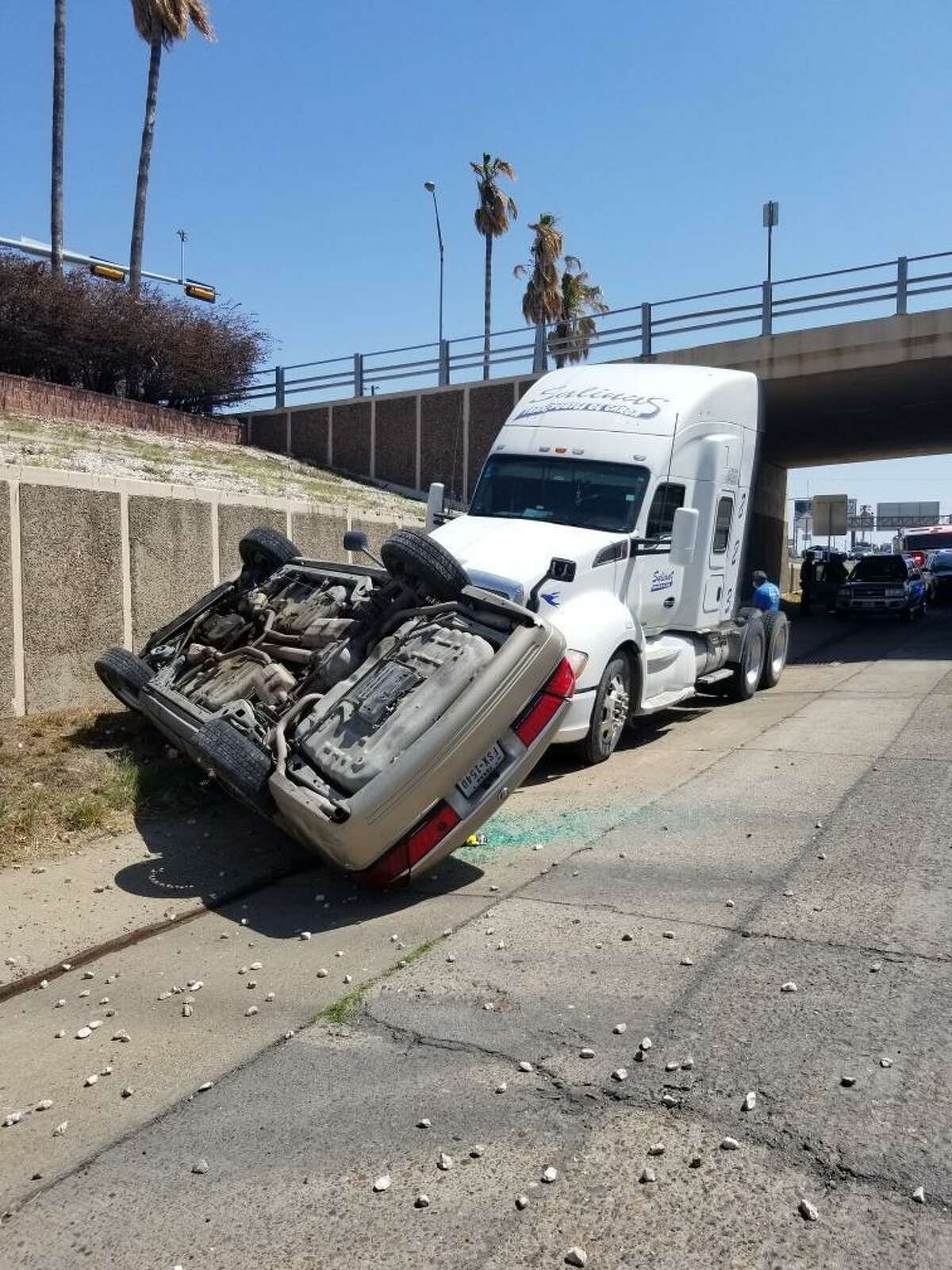 A man was taken to the hospital as a result of this two-vehicle crash on mile marker 1 of Interstate 35.
