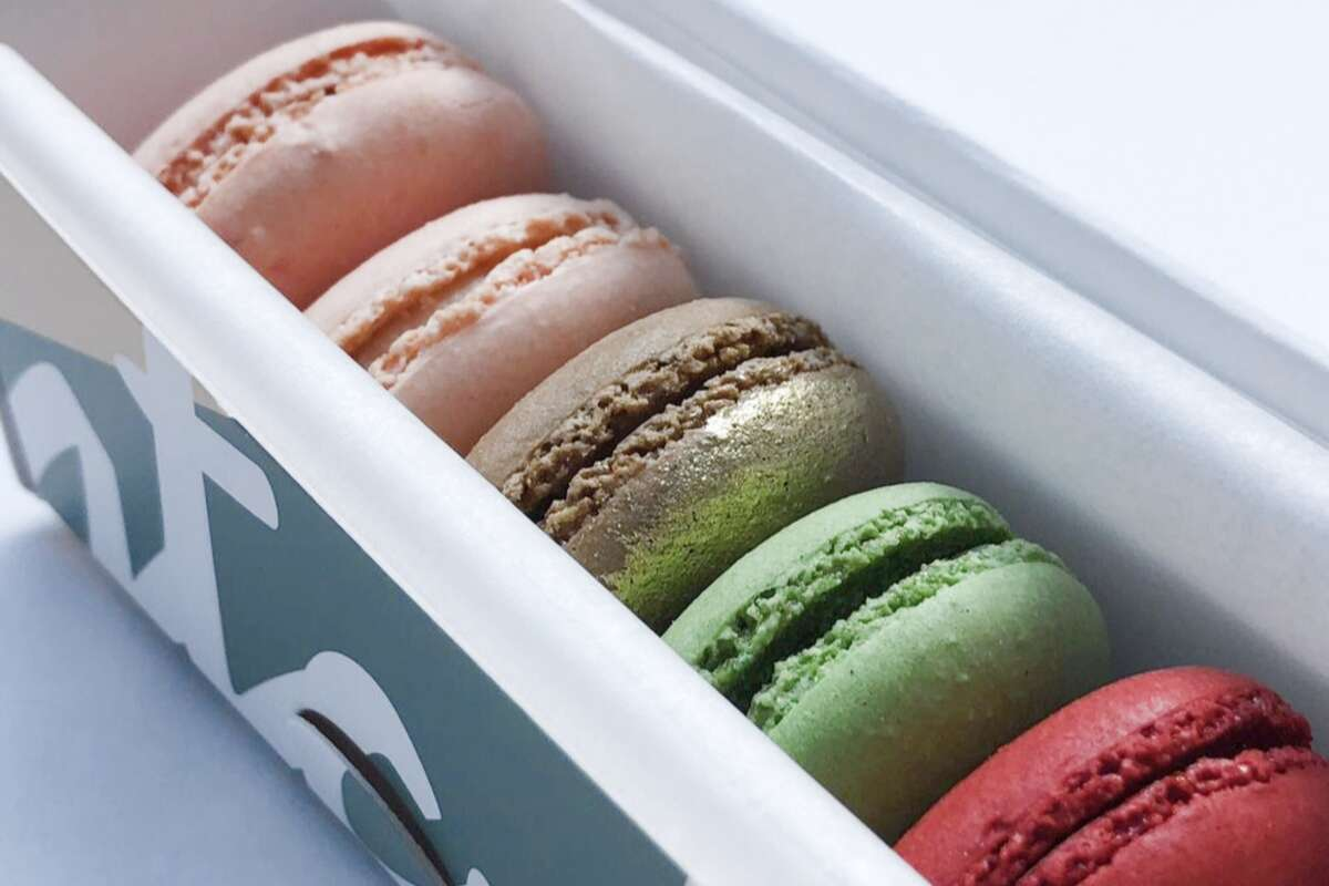 Chantal Guillon's new owners are continuing to use the macaron recipe of its former business namesake, such as these macarons, shown in this 2018 photo.