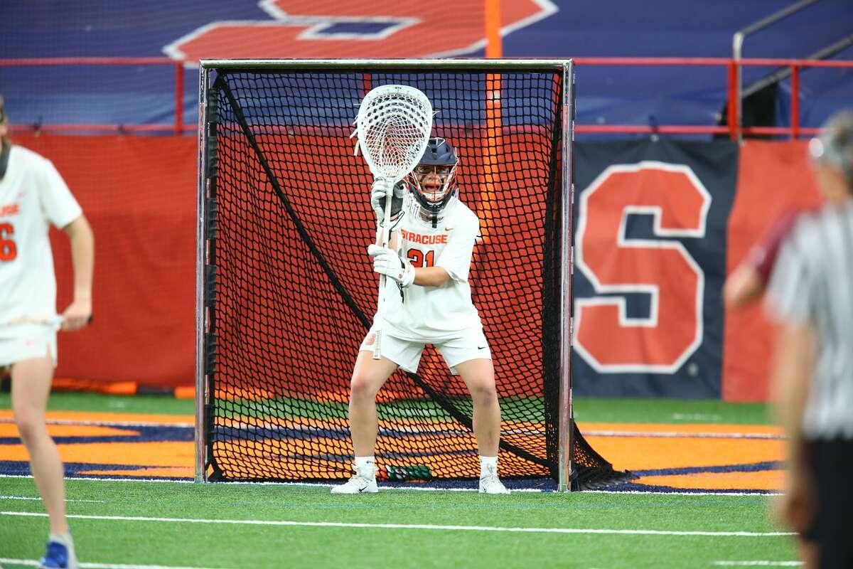 Syracuse goalie Asa Goldstock defends the goal against Virginia Tech earlier this season. (Syracuse Athletic Communications)
