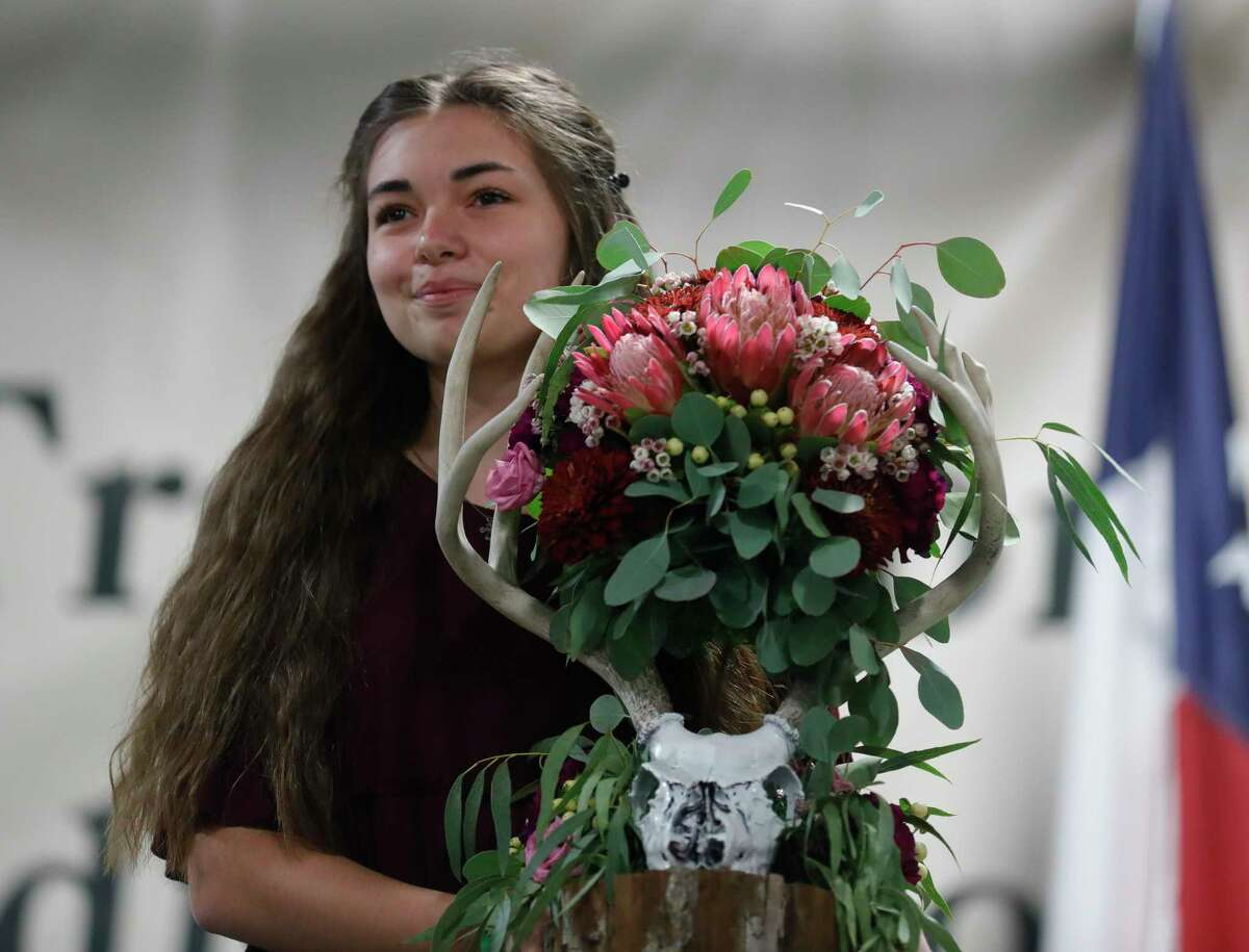 Alicia Carpenter of New Caney FFA won grand champion horticulture for her arrangement during the non-livestock auction at the Montgomery County Fair and Rodeo, Monday, April 12, 2021, in Conroe.