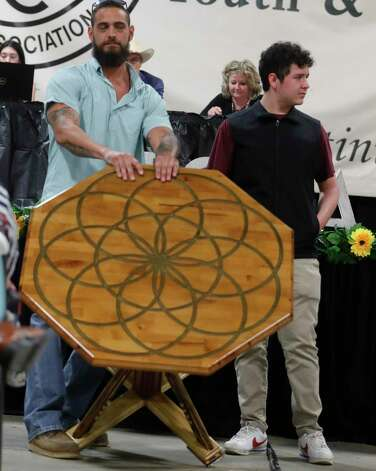 Ambrose Leims of Willis High School won grand champion handicraft I during the non-livestock auction at the Montgomery County Fair and Rodeo, Monday, April 12, 2021, in Conroe. Photo: Jason Fochtman, Houston Chronicle / Staff Photographer / 2021 © Houston Chronicle