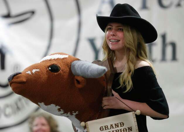 Bailey Wolf of Champion 4-H won grand champion needlecraft for her crochet during the non-livestock auction at the Montgomery County Fair and Rodeo, Monday, April 12, 2021, in Conroe. Photo: Jason Fochtman, Houston Chronicle / Staff Photographer / 2021 © Houston Chronicle