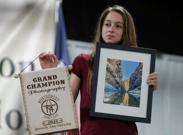 Bethany Neunuebel of Trinity Woodlands 4-H won grand champion photography for her work during the non-livestock auction at the Montgomery County Fair and Rodeo, Monday, April 12, 2021, in Conroe. Photo: Jason Fochtman, Houston Chronicle / Staff Photographer / 2021 © Houston Chronicle