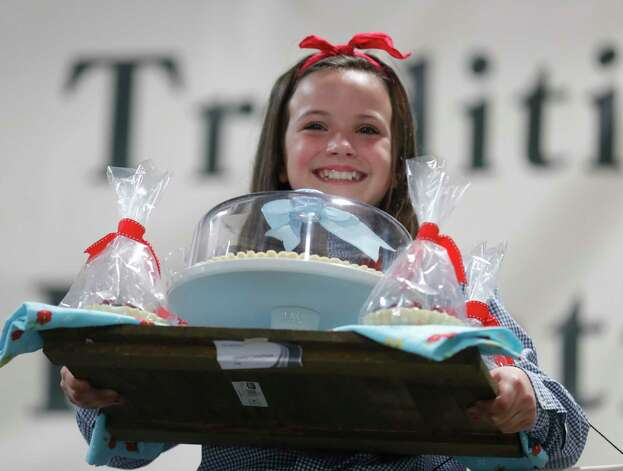 Madeley Jane Anderson of Evening Star 4-H won grand champion pie for her fruit tart during the non-livestock auction at the Montgomery County Fair and Rodeo, Monday, April 12, 2021, in Conroe. Photo: Jason Fochtman, Houston Chronicle / Staff Photographer / 2021 © Houston Chronicle