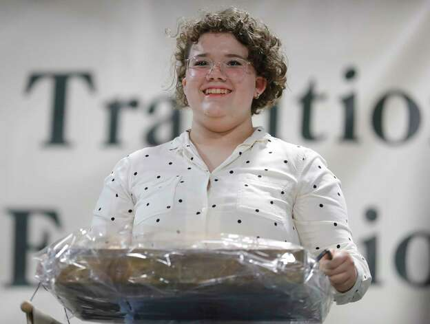 Elaine Bass of Conroe 4-H won grand champion cookies for her macarons during the non-livestock auction at the Montgomery County Fair and Rodeo, Monday, April 12, 2021, in Conroe. Photo: Jason Fochtman, Houston Chronicle / Staff Photographer / 2021 © Houston Chronicle