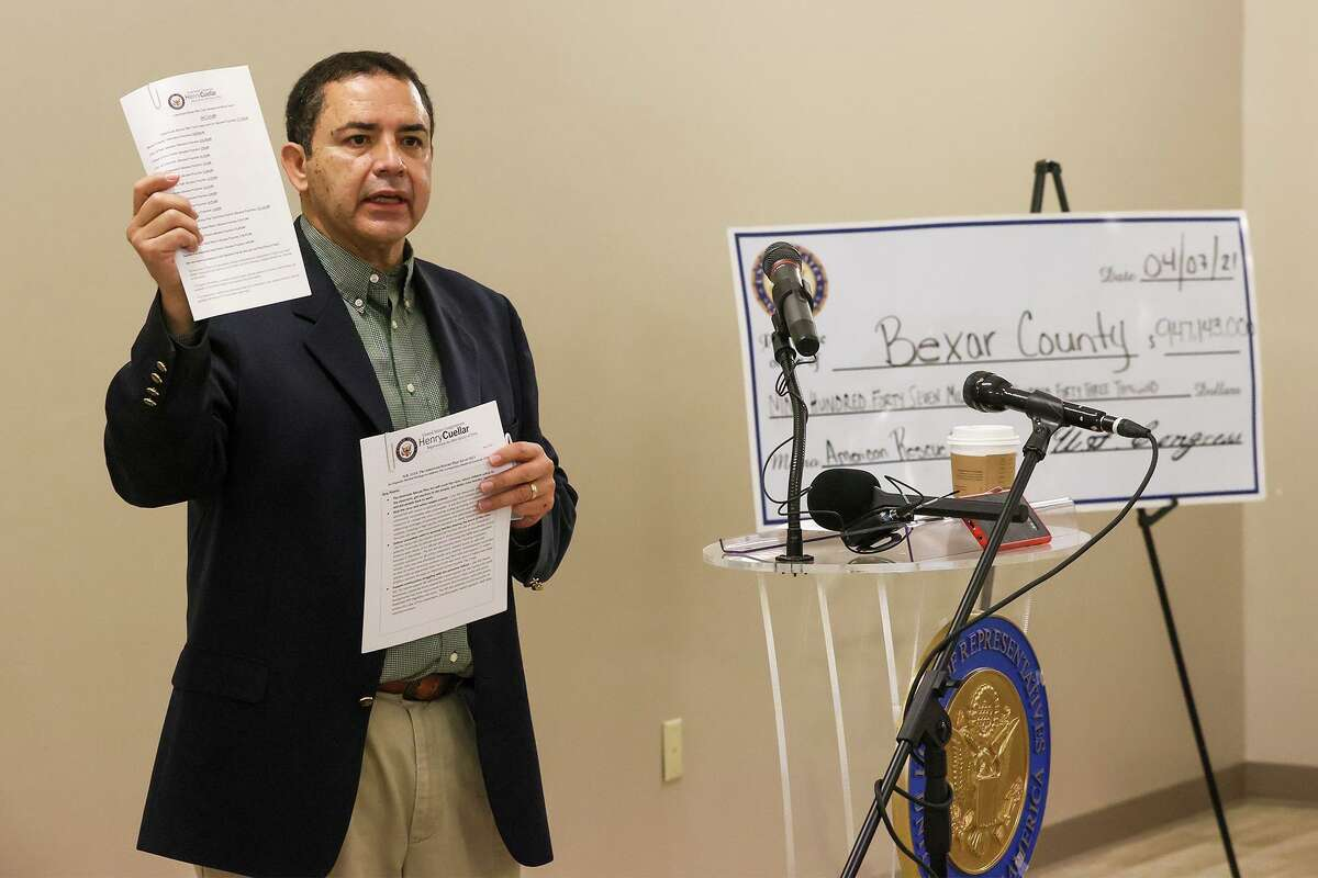 U.S. Rep. Henry Cuellar talks about money coming to Bexar County and San Antonio from the American Rescue Plan with a group of city managers and mayors at the Takas Park Civic Canter in Windcrest on April 7. Total allocations for Bexar County from the plan total $947,143,000 million.