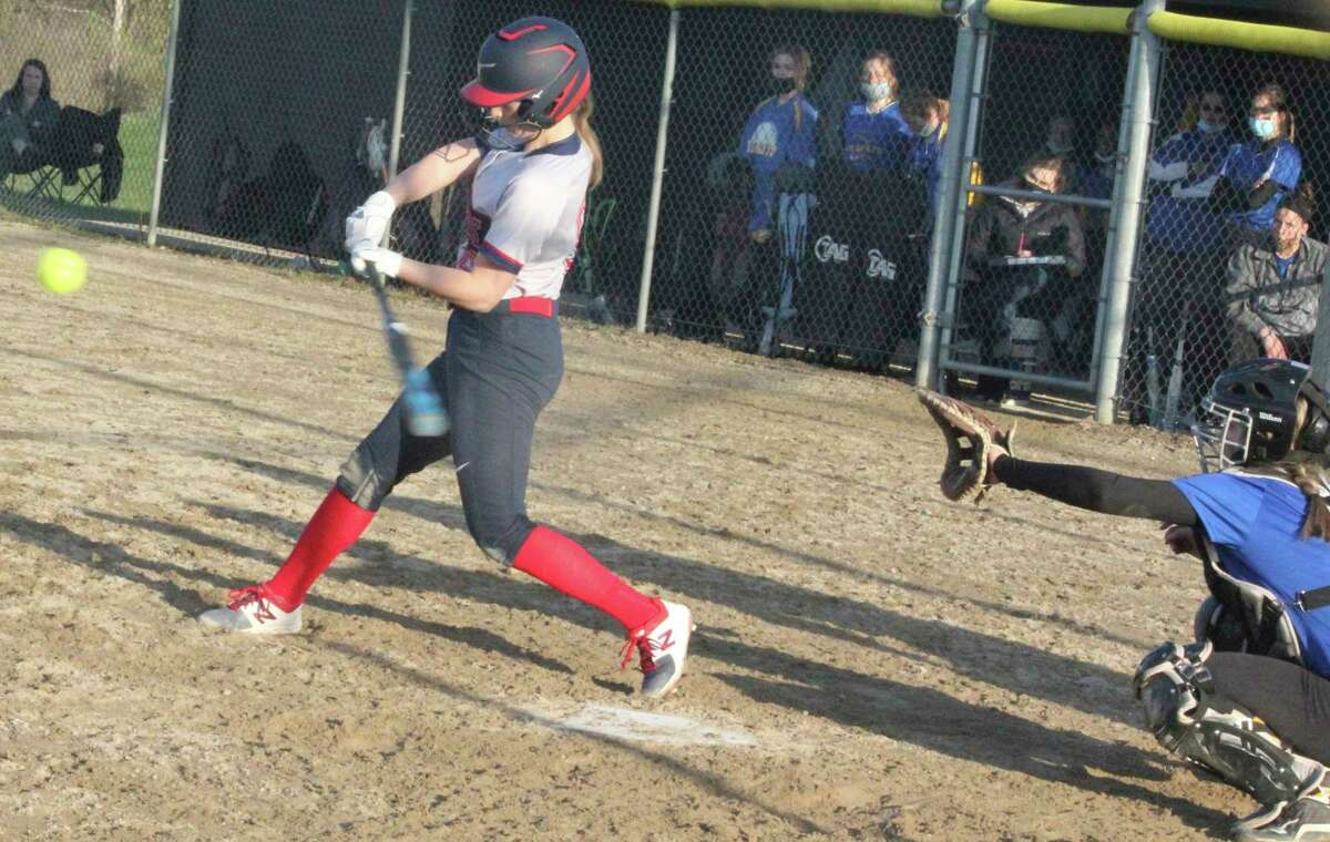 Big Rapids' Hanna Smith gets set to connect with a pitch against Evart on Monday. (Pioneer photo/John Raffel)