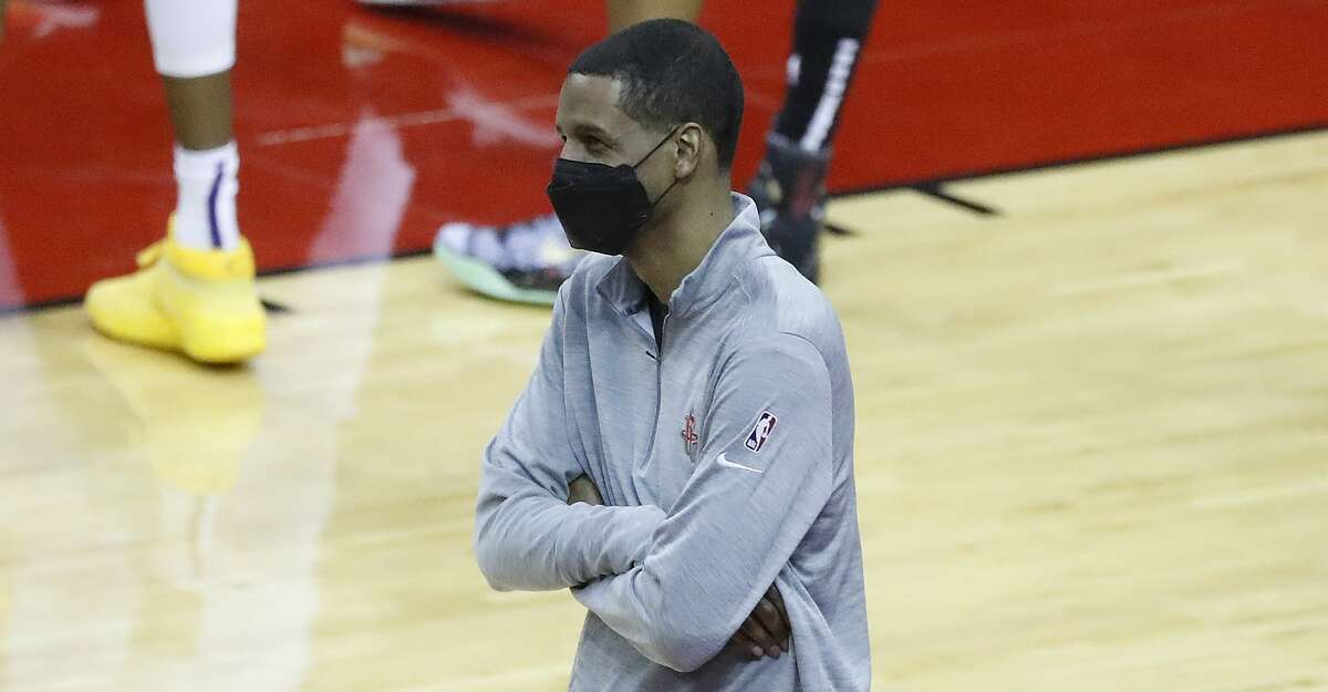 Houston Rockets head coach Stephen Silas on the sideline during the third quarter of an NBA basketball game at Toyota Center, Monday, April 5, 2021.