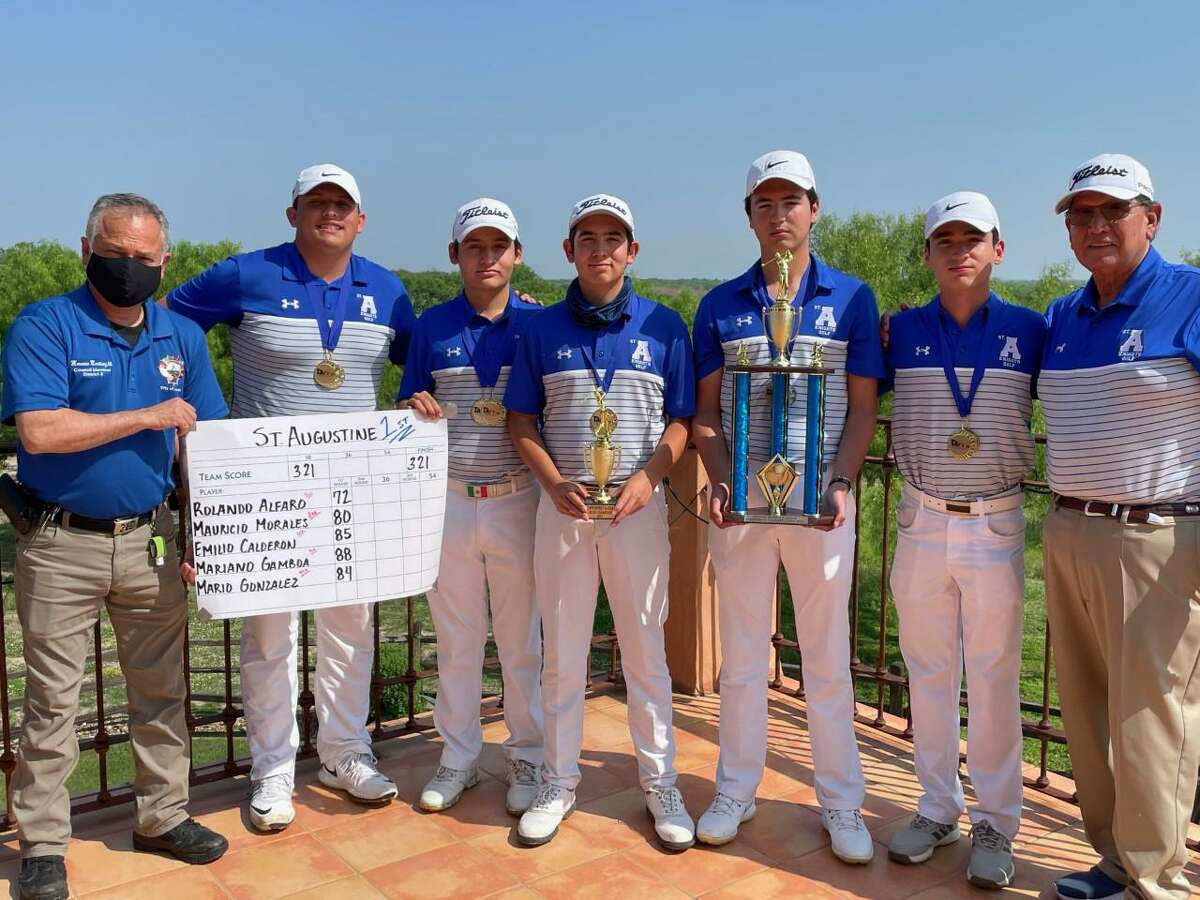 St. Augustine hosted the TAPPS 5A district tournament for the first time Monday at the Max A. Mandel Municipal Golf Course and won by 38 strokes led by individual champion Rolando Alfaro, center, who won by six strokes.