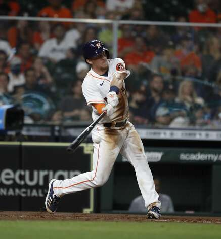 Houston Astros Myles Straw (3) hits into a double play during the fourth inning of an MLB baseball game at Minute Maid Park, in Houston, Monday, April 12, 2021. Photo: Karen Warren/Staff Photographer / @2021 Houston Chronicle