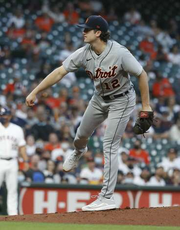 Detroit Tigers starting pitcher Casey Mize (12) pitches during the first inning of an MLB baseball game at Minute Maid Park, in Houston, Monday, April 12, 2021. Photo: Karen Warren/Staff Photographer / @2021 Houston Chronicle