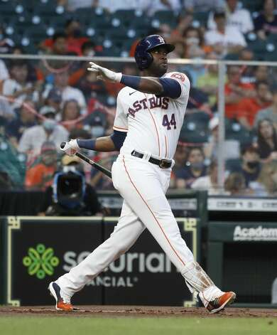 Houston Astros designated hitter Yordan Alvarez (44) lines out during the first inning of an MLB baseball game at Minute Maid Park, in Houston, Monday, April 12, 2021. Photo: Karen Warren/Staff Photographer / @2021 Houston Chronicle