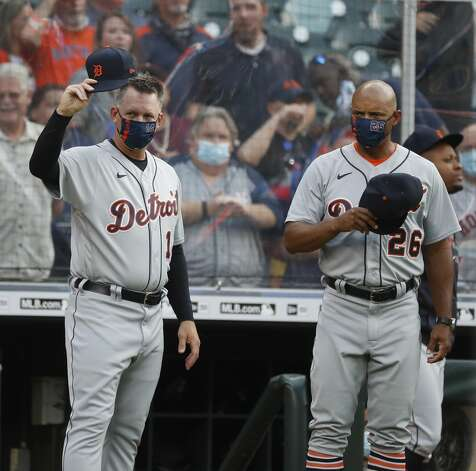 Detroit Tigers manager A.J. Hinch (14) waves to the Houston Astros dugout before the start of the first inning of an MLB baseball game at Minute Maid Park, in Houston, Monday, April 12, 2021. Photo: Karen Warren/Staff Photographer / @2021 Houston Chronicle