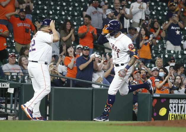 Houston Astros Carlos Correa (1) runs the bases after his solo home run during the ninth inning of an MLB baseball game at Minute Maid Park, in Houston, Monday, April 12, 2021. Photo: Karen Warren/Staff Photographer / @2021 Houston Chronicle