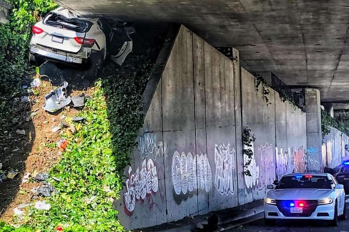 Oakland California Highway Patrol said the driver of a Maserati on 580 westbound crashed after refusing to stop for an officer on April 12.