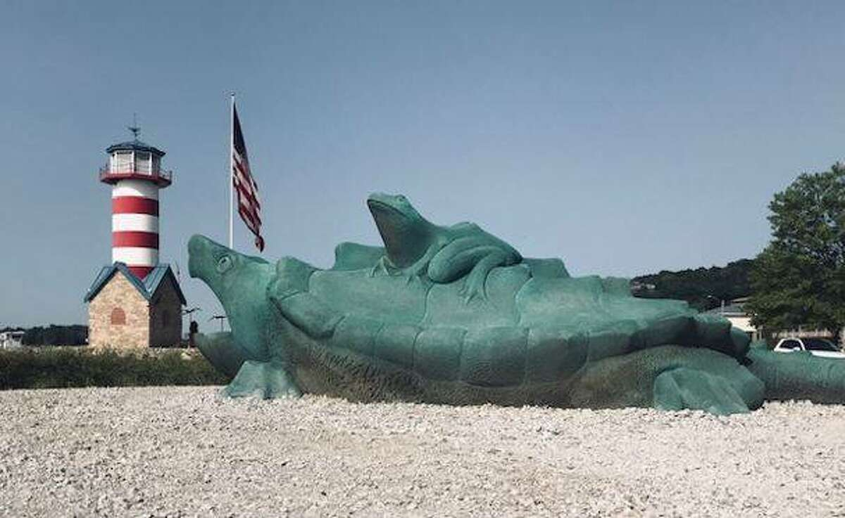 A riverfront sculpture welcomes guests to Grafton. Last week leaders from the state's tourism and hospitality industry asked for additional support and guidance, with some estimating the Illinois hotel industry may not see a full recovery until 2024.
