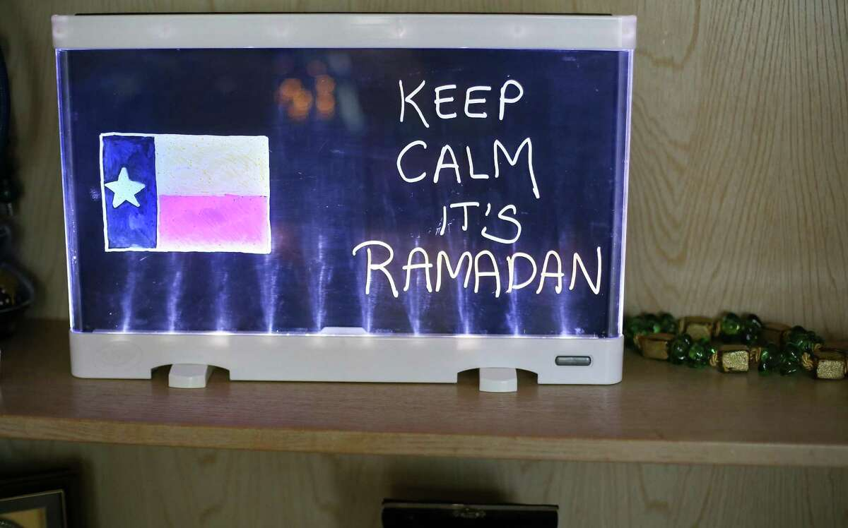 A sign made by Mehwish Aejaz children to decorate for Ramadan in their home on Wednesday, April 7, 2021 in Sugar Land .
