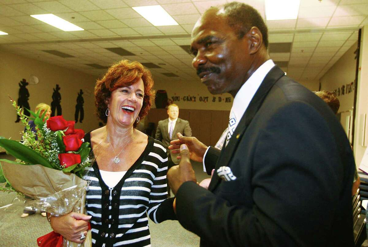 Principal Marlene Lindsay shares a laugh with Gerald Irons, the CISD Board of Trustees Secretary and past President. Irons Sr. died on April 1. A memorial service is set for 4 to 6 p.m. Thursday.