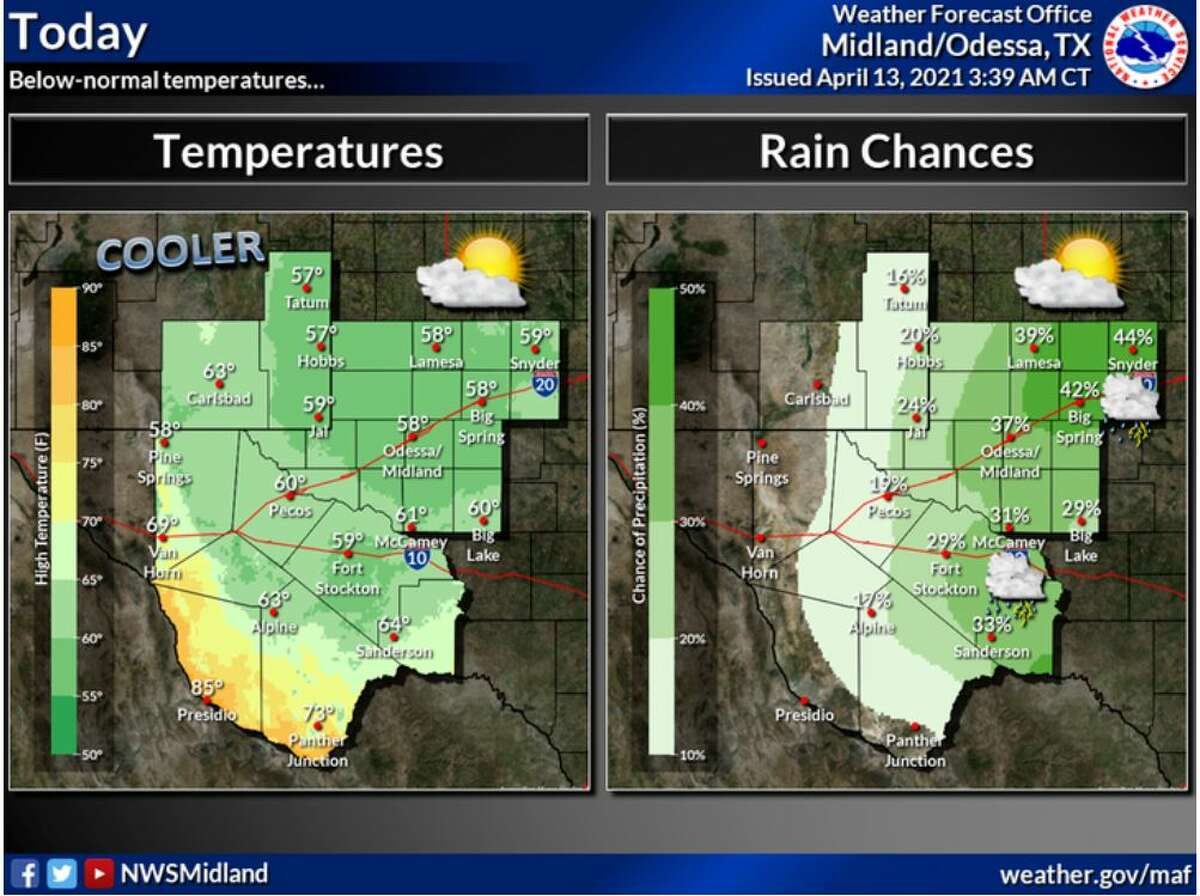 Thunderstorms are possible today. Any storms that do develop will be accompanied by frequent lightning, small hail, gusty winds, and brief, heavy rainfall. Otherwise, below-normal temperatures are expected.