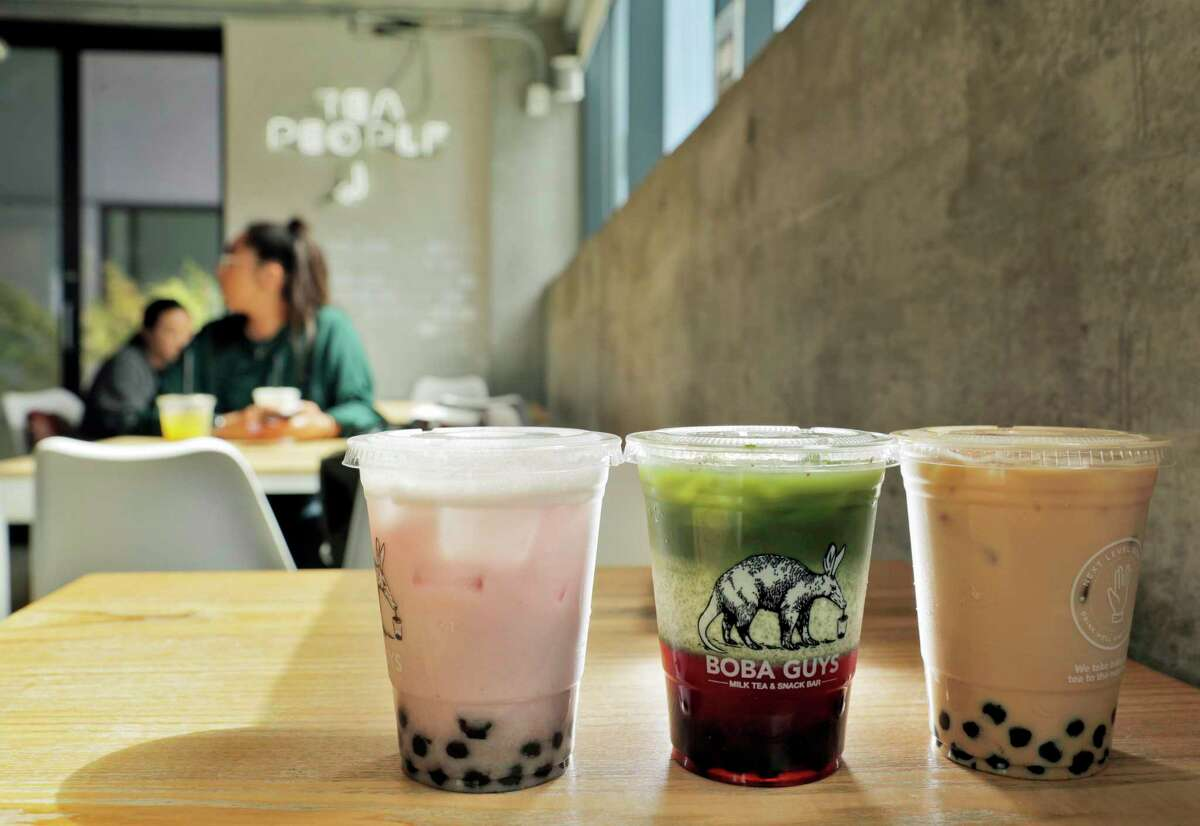 Several of the Boba drinks served at the Boba Guys store in San Francisco , Calif., on Monday, July 16, 2018. Board of Supervisors votes tomorrow on a plastic-straw ban that would go into effect at the end of July. It may have a large impact on the city's hundreds of shops and restaurants that serve bubble tea, because there are so few alternatives to the fat plastic straws essential to drinking the beverage. Boba Guys has done a ton of research on alternatives.