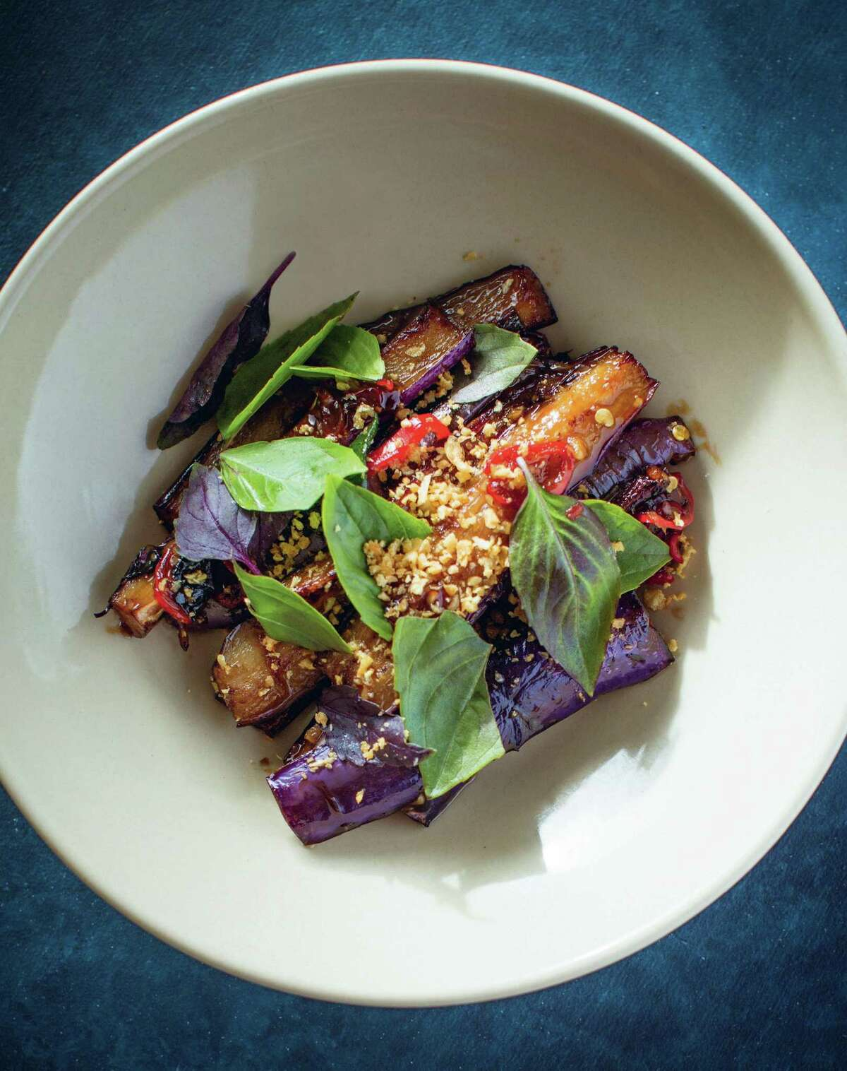 """Taiwanese-Style Eggplant from """"Mister Jiu's in Chinatown"""" by Brandon Jew and Tienlon Ho."""