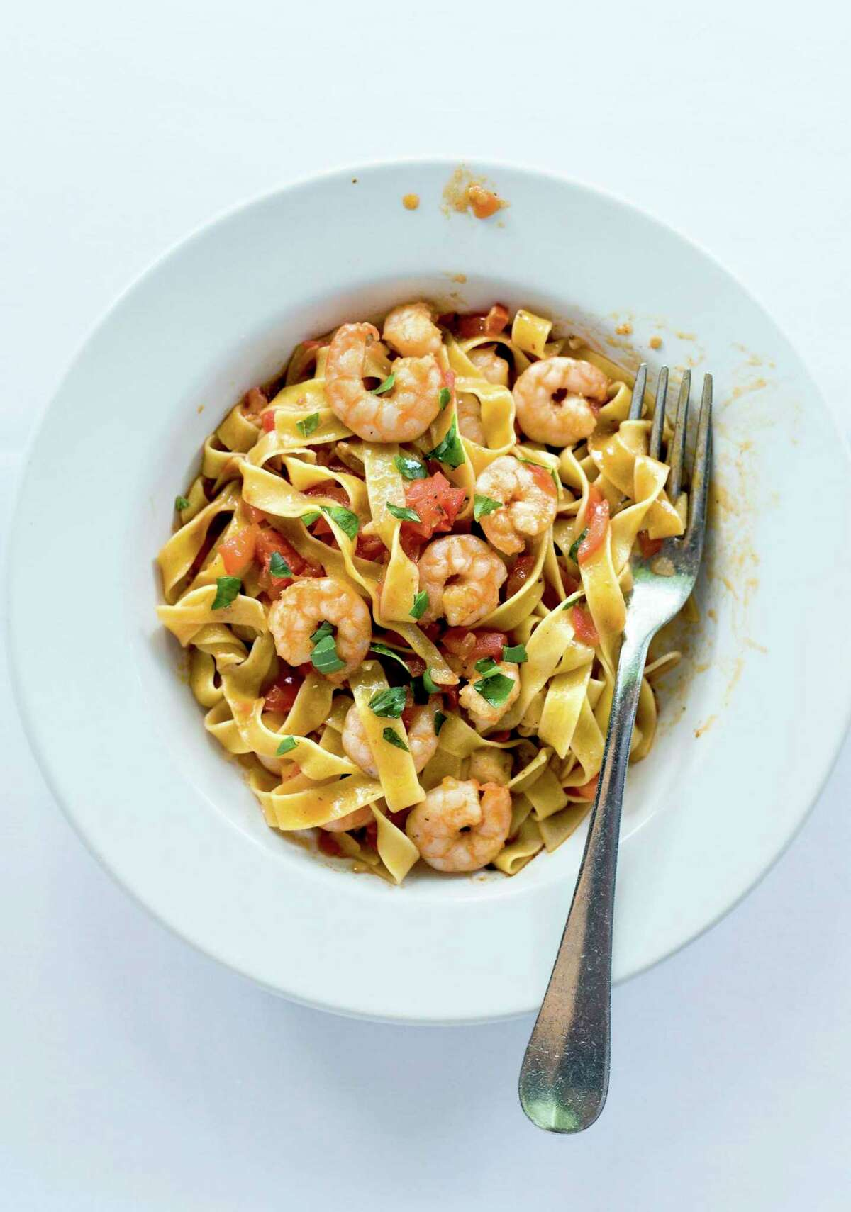 """Pasta with Shrimp and Arbol Chiles from """"World Food: Mexico City"""" by James Oseland."""