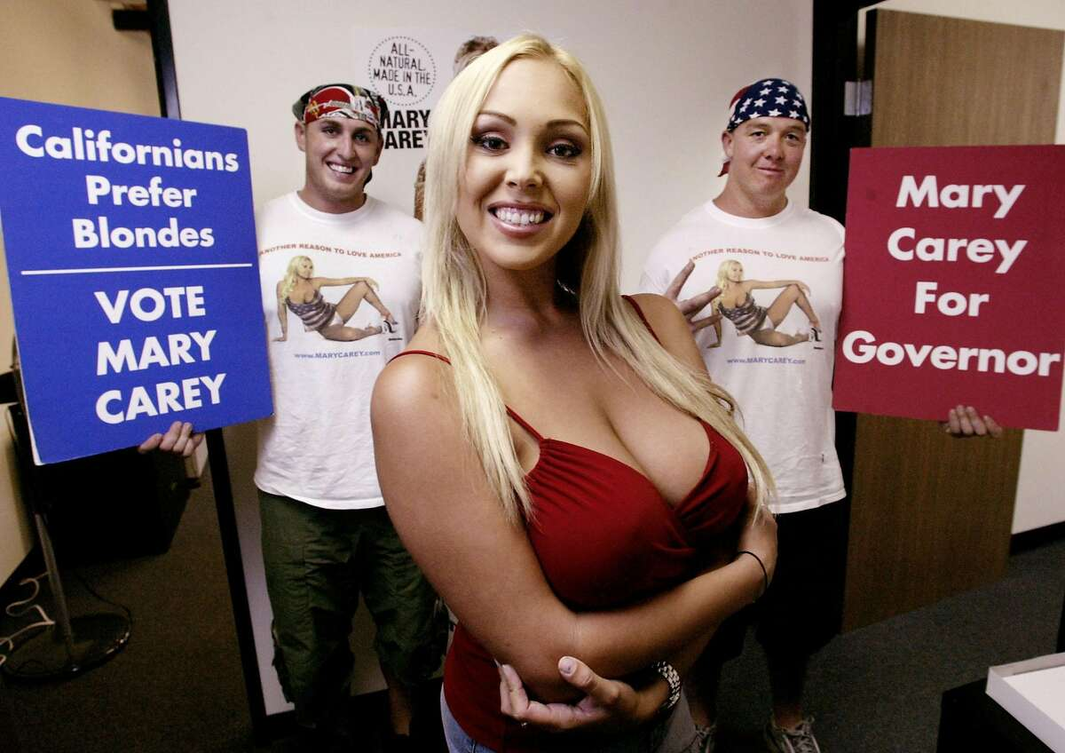 Adult film actress Mary Carey on Aug. 11, 2003, after announcing her campaign for governor in the recall election of Gov. Gray Davis. Carey says she will run in this year's recall election of Gov. Gavin Newsom if it qualifies for the ballot.